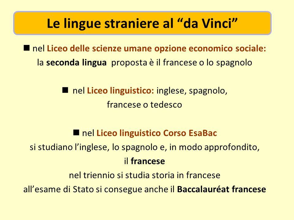 nel Liceo delle scienze umane opzione economico sociale: la seconda lingua proposta è il francese o lo spagnolo nel Liceo linguistico: inglese, spagno