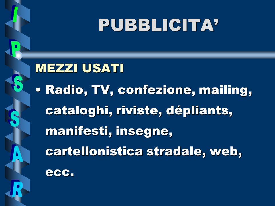 PUBBLICITA MEZZI USATI Radio,Radio, TV, confezione, mailing, cataloghi, riviste, dépliants, manifesti, insegne, cartellonistica stradale, web, ecc.