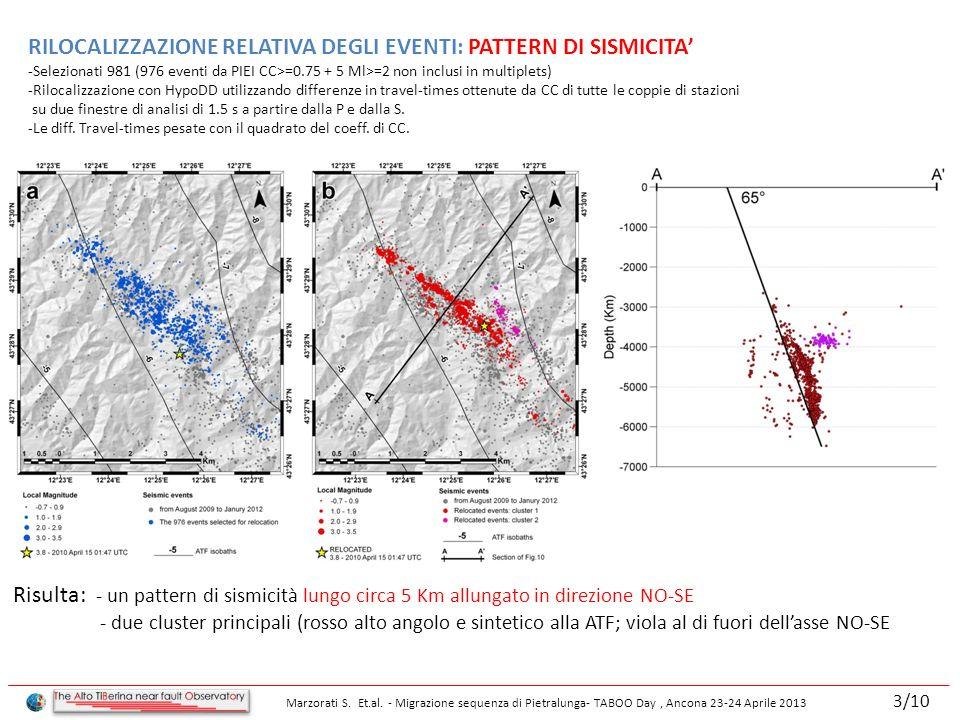 RILOCALIZZAZIONE RELATIVA DEGLI EVENTI: PATTERN DI SISMICITA -Selezionati 981 (976 eventi da PIEI CC>=0.75 + 5 Ml>=2 non inclusi in multiplets) -Rilocalizzazione con HypoDD utilizzando differenze in travel-times ottenute da CC di tutte le coppie di stazioni su due finestre di analisi di 1.5 s a partire dalla P e dalla S.