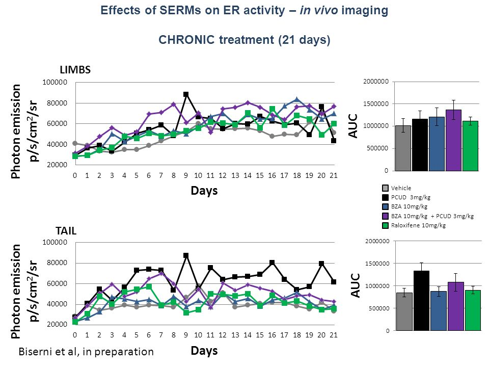 Effects of SERMs on ER activity – in vivo imaging CHRONIC treatment (21 days) Vehicle PCUD 3mg/kg BZA 10mg/kg BZA 10mg/kg + PCUD 3mg/kg Raloxifene 10mg/kg Biserni et al, in preparation