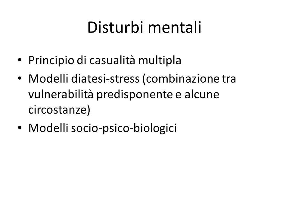 Disturbi mentali Principio di casualità multipla Modelli diatesi-stress (combinazione tra vulnerabilità predisponente e alcune circostanze) Modelli socio-psico-biologici