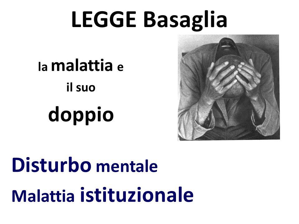 LEGGE Basaglia la malattia e il suo doppio Disturbo mentale Malattia istituzionale