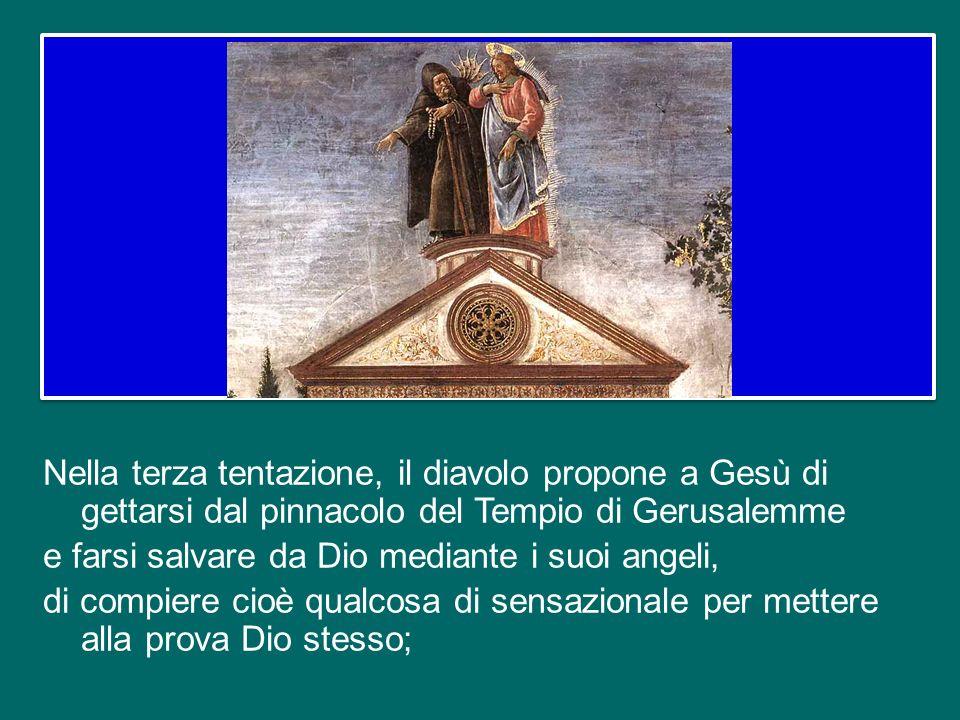 Nella seconda tentazione, il diavolo propone a Gesù la via del potere: lo conduce in alto e gli offre il dominio del mondo; ma non è questa la strada