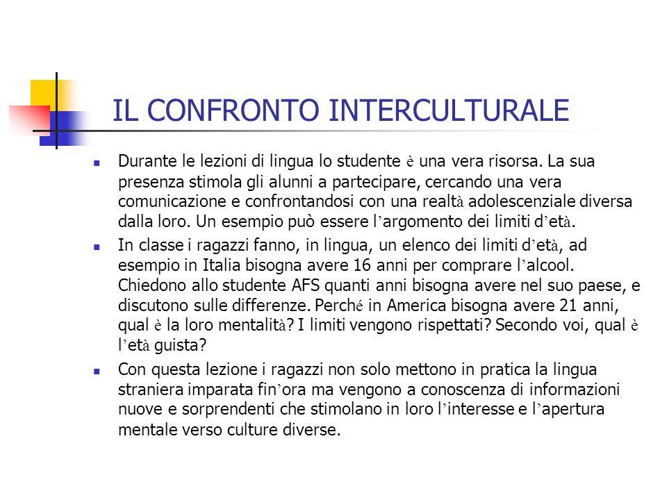 IL CONFRONTO INTERCULTURALE Durante le lezioni di lingua lo studente è una vera risorsa.