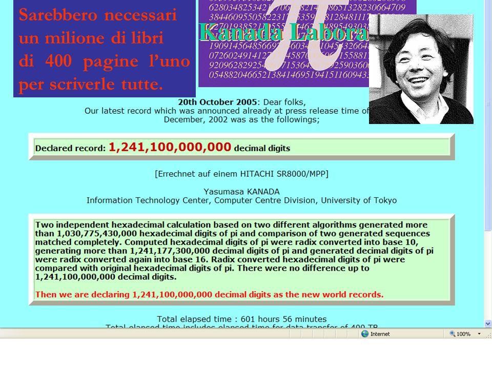 Nel Novembre del 2000 è stata calcolata la million-miliardesima (10^15 -esima) cifra di pi greco, in esadecimale: 0.