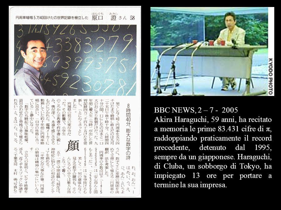 Un giovane cinese di 24 anni, Lu Chao, studente della Northwest Agriculture and Forestry University, ha stabilito un nuovo record recitando a memoria, il 19 novembre 2005, 67.890 cifre del pi greco, in 24 ore e 4 minuti.