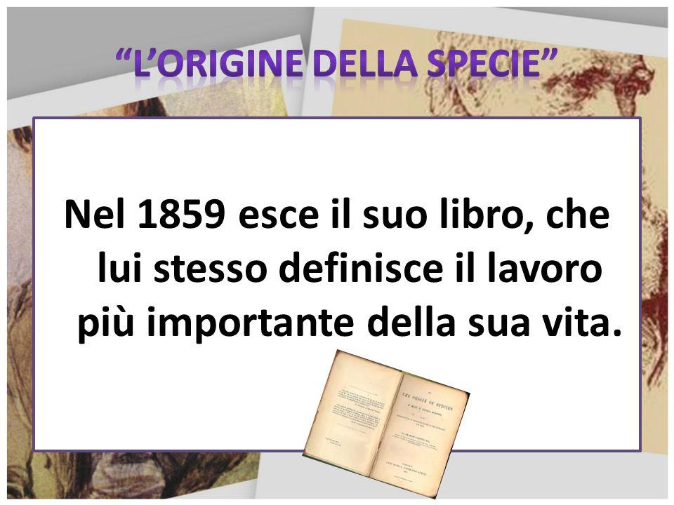Nel 1859 esce il suo libro, che lui stesso definisce il lavoro più importante della sua vita.