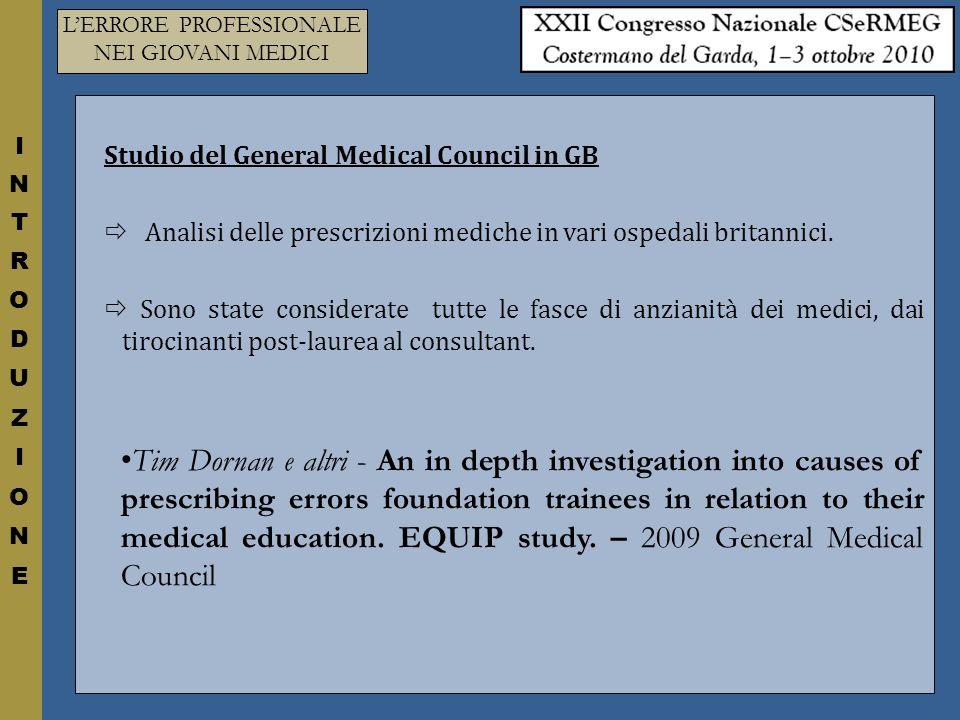 Studio del General Medical Council in GB Analisi delle prescrizioni mediche in vari ospedali britannici.