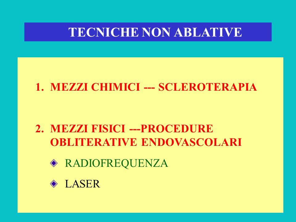 TECNICHE NON ABLATIVE 1.MEZZI CHIMICI --- SCLEROTERAPIA 2.MEZZI FISICI ---PROCEDURE OBLITERATIVE ENDOVASCOLARI RADIOFREQUENZA LASER