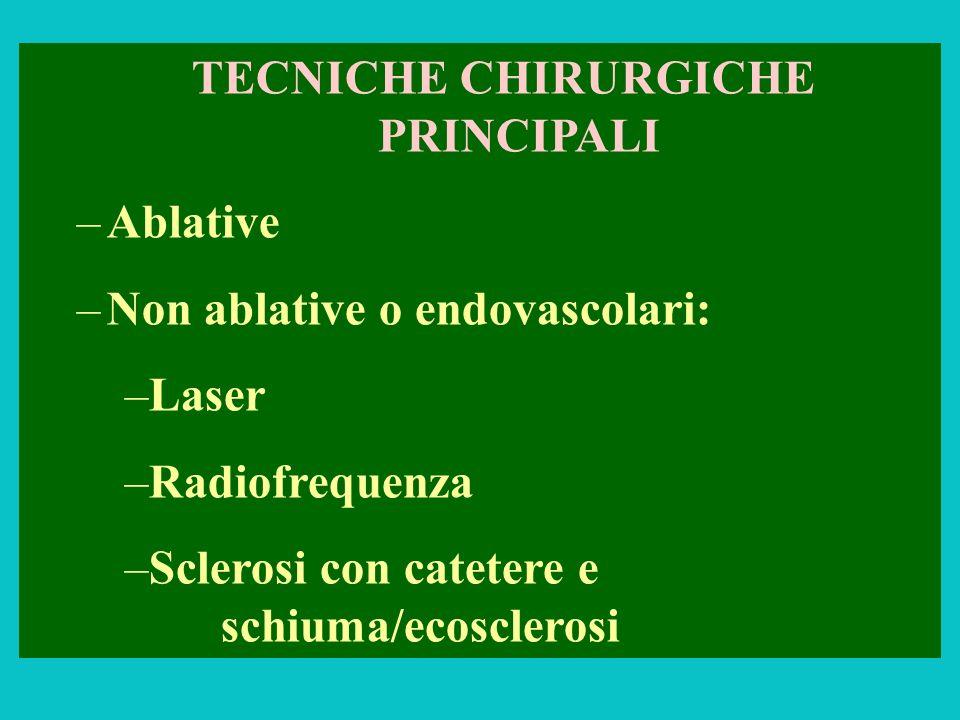 TECNICHE CHIRURGICHE PRINCIPALI –Ablative –Non ablative o endovascolari: –Laser –Radiofrequenza –Sclerosi con catetere e schiuma/ecosclerosi