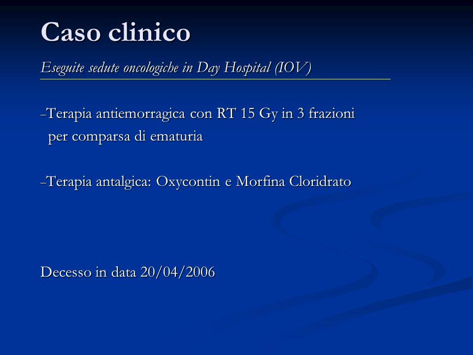Caso clinico Eseguite sedute oncologiche in Day Hospital (IOV) Terapia antiemorragica con RT 15 Gy in 3 frazioni Terapia antiemorragica con RT 15 Gy i