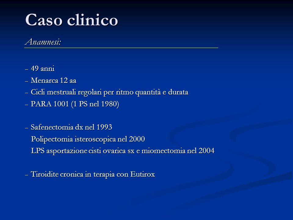 Caso clinico Anamnesi: 49 anni 49 anni Menarca 12 aa Menarca 12 aa Cicli mestruali regolari per ritmo quantità e durata Cicli mestruali regolari per r