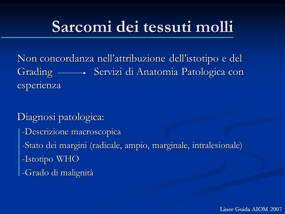 Sarcomi dei tessuti molli Non concordanza nellattribuzione dellistotipo e del Grading Servizi di Anatomia Patologica con esperienza Diagnosi patologic