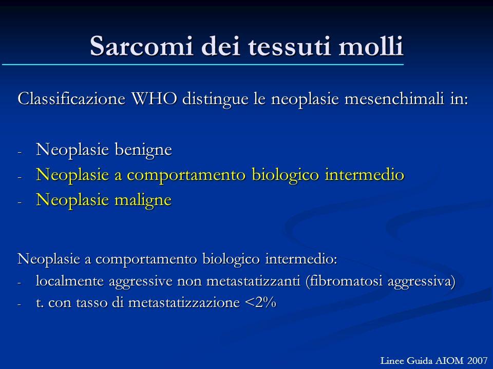 Sarcomi dei tessuti molli Classificazione WHO distingue le neoplasie mesenchimali in: - Neoplasie benigne - Neoplasie a comportamento biologico interm
