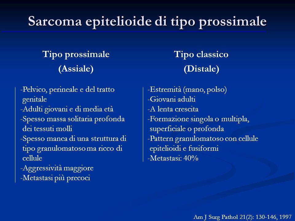 Sarcoma epitelioide di tipo prossimale Tipo prossimale (Assiale) -Pelvico, perineale e del tratto genitale -Adulti giovani e di media età -Spesso mass