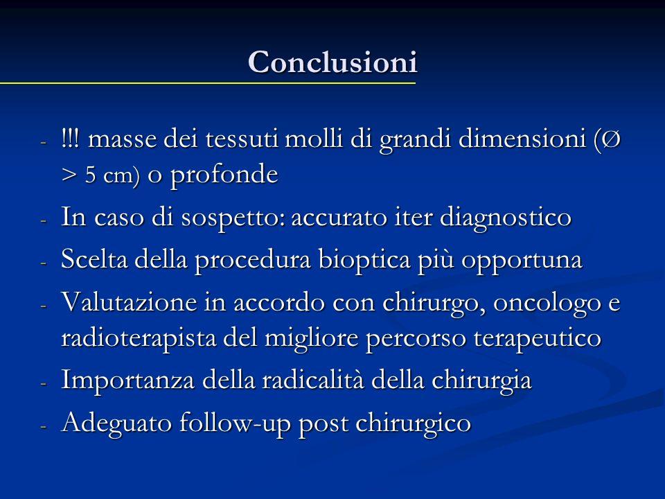 Conclusioni - !!! masse dei tessuti molli di grandi dimensioni ( Ø > 5 cm) o profonde - In caso di sospetto: accurato iter diagnostico - Scelta della