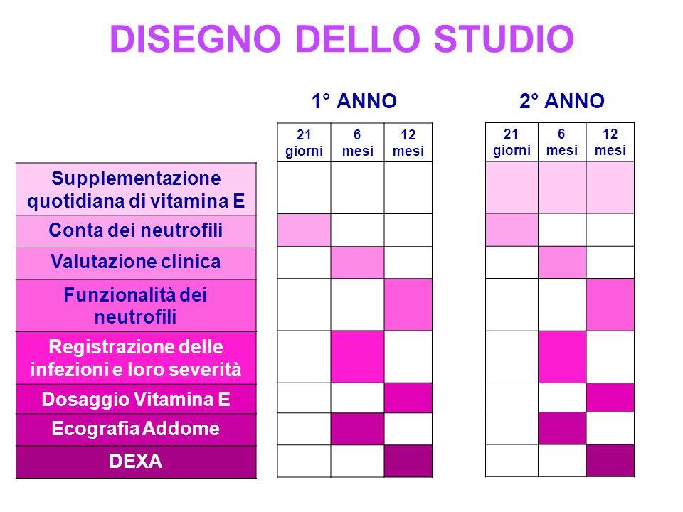 DISEGNO DELLO STUDIO 1° ANNO 2° ANNO 21 giorni 6 mesi 12 mesi 21 giorni 6 mesi 12 mesi Supplementazione quotidiana di vitamina E Conta dei neutrofili