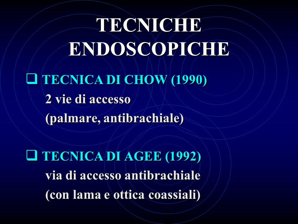 TECNICHE ENDOSCOPICHE TECNICA DI CHOW (1990) 2 vie di accesso (palmare, antibrachiale) TECNICA DI AGEE (1992) via di accesso antibrachiale (con lama e