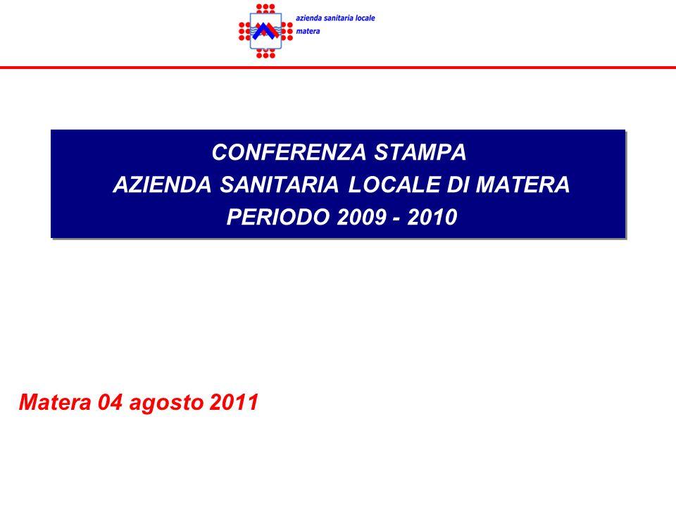 CONFERENZA STAMPA AZIENDA SANITARIA LOCALE DI MATERA PERIODO 2009 - 2010 Matera 04 agosto 2011