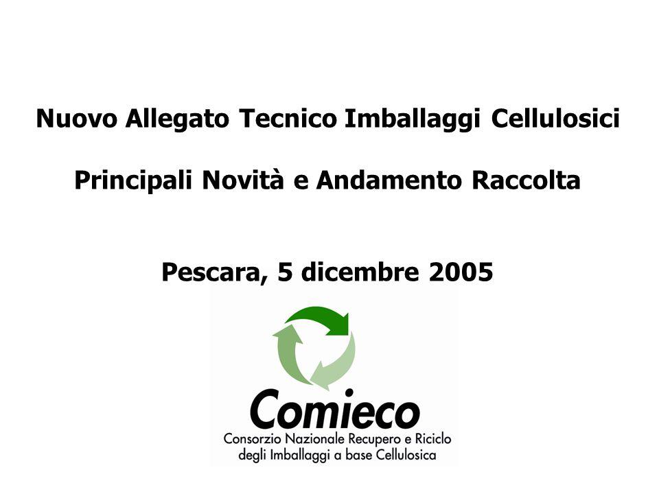 Nuovo Allegato Tecnico Imballaggi Cellulosici Principali Novità e Andamento Raccolta Pescara, 5 dicembre 2005
