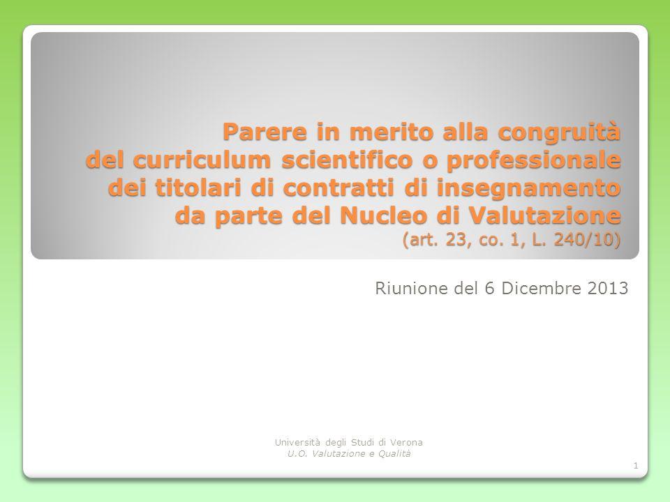 Parere in merito alla congruità del curriculum scientifico o professionale dei titolari di contratti di insegnamento da parte del Nucleo di Valutazion