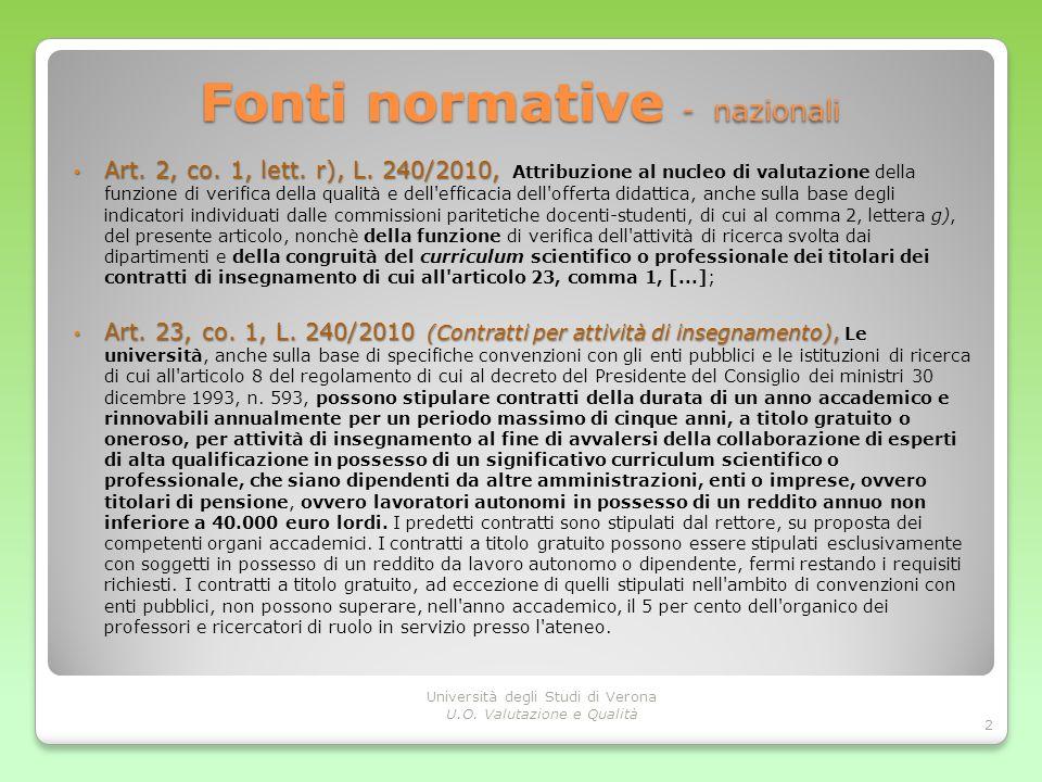 Fonti normative - nazionali Art. 2, co. 1, lett. r), L. 240/2010, Art. 2, co. 1, lett. r), L. 240/2010, Attribuzione al nucleo di valutazione della fu