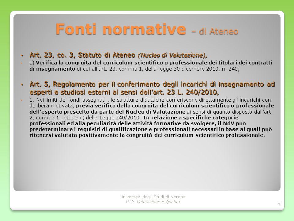 Fonti normative – di Ateneo Art. 23, co. 3, Statuto di Ateneo (Nucleo di Valutazione), Art. 23, co. 3, Statuto di Ateneo (Nucleo di Valutazione), c) V