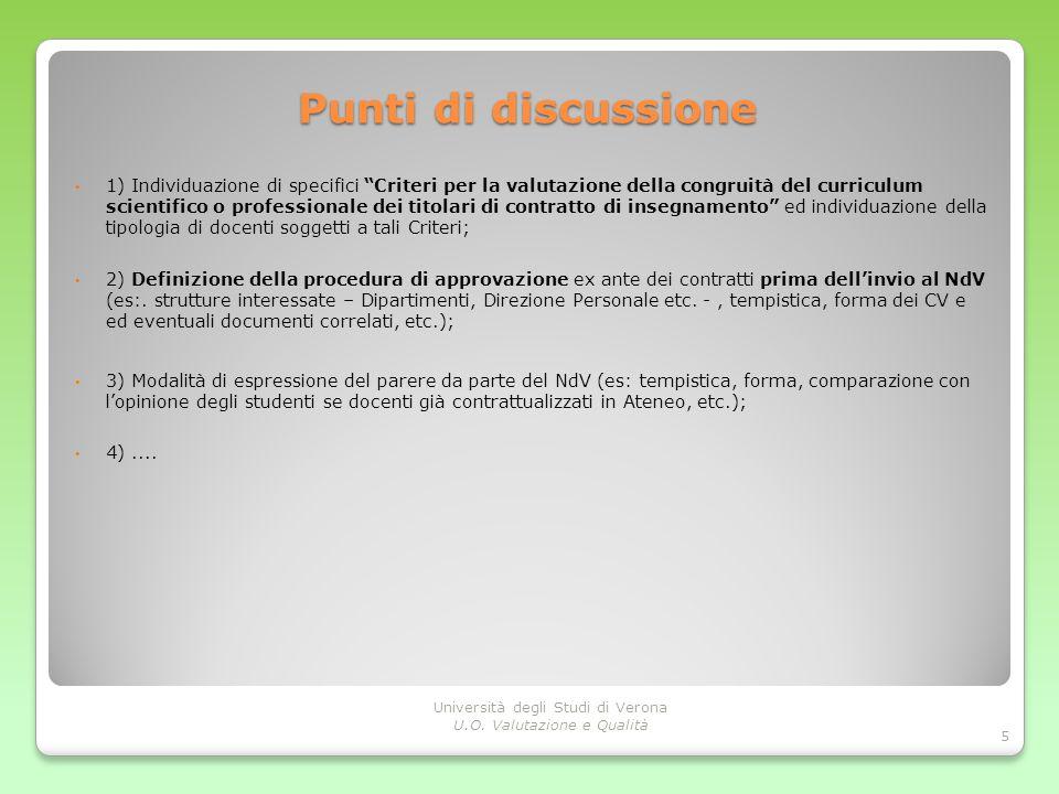Punti di discussione 1) Individuazione di specifici Criteri per la valutazione della congruità del curriculum scientifico o professionale dei titolari