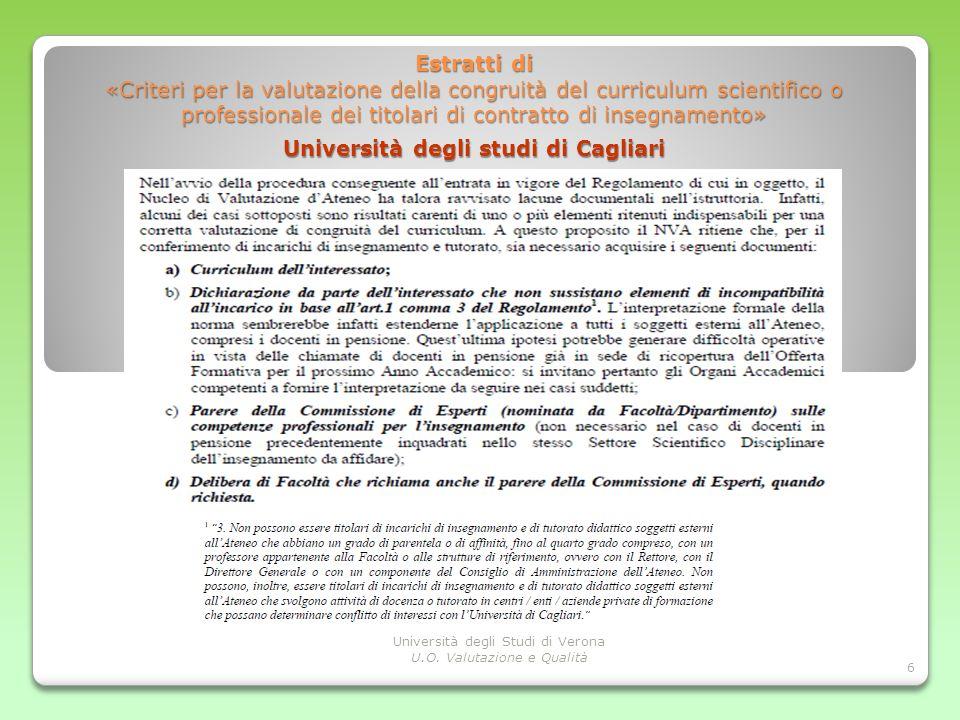 Punti di discussione Estratti di «Criteri per la valutazione della congruità del curriculum scientifico o professionale dei titolari di contratto di i