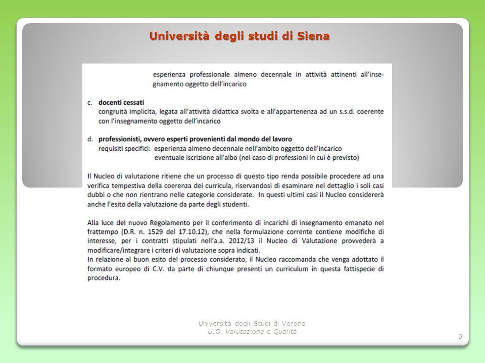 Punti di discussione Università degli studi di Siena 9 Università degli Studi di Verona U.O. Valutazione e Qualità
