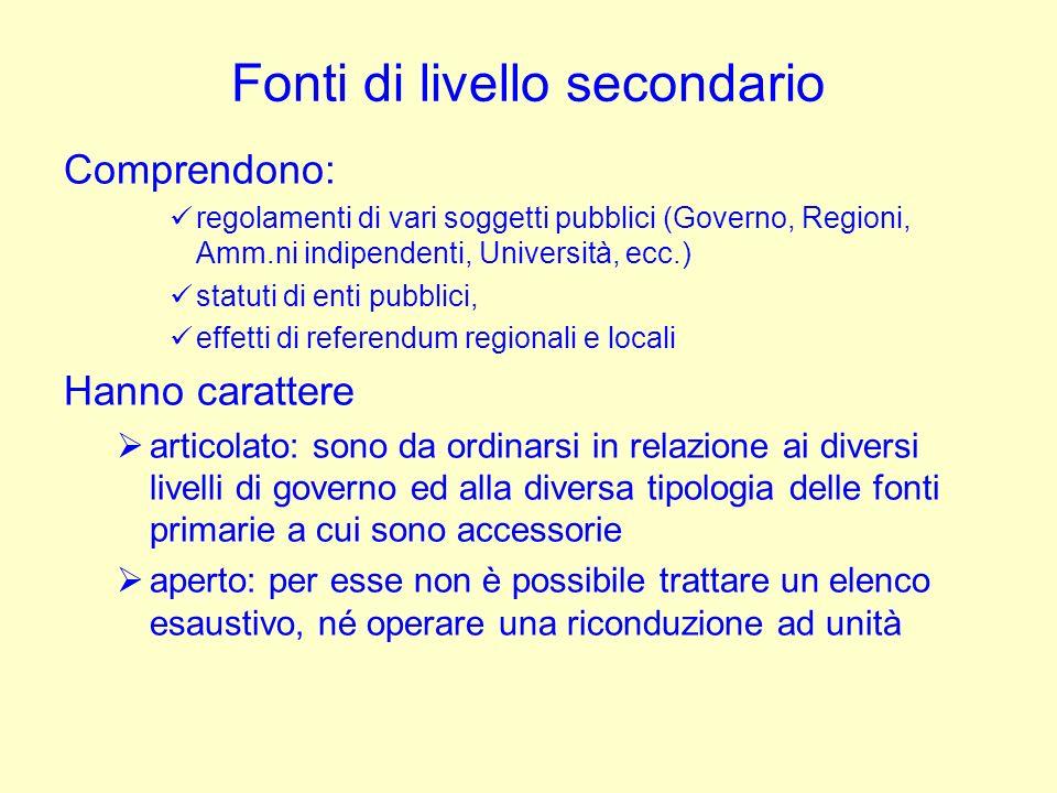 Fonti di livello secondario Comprendono: regolamenti di vari soggetti pubblici (Governo, Regioni, Amm.ni indipendenti, Università, ecc.) statuti di en