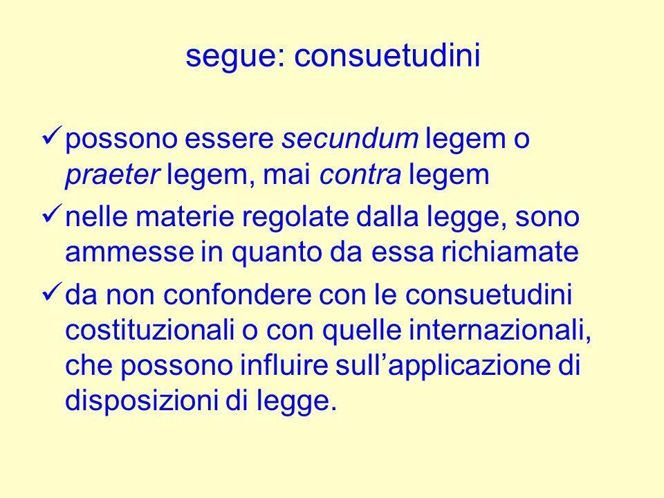 segue: consuetudini possono essere secundum legem o praeter legem, mai contra legem nelle materie regolate dalla legge, sono ammesse in quanto da essa