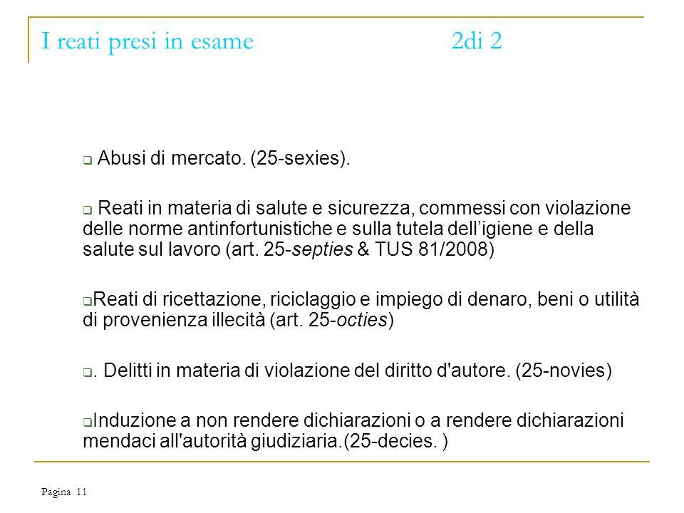 Pagina 11 I reati presi in esame2di 2 Abusi di mercato.