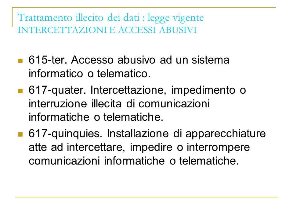 Trattamento illecito dei dati : legge vigente INTERCETTAZIONI E ACCESSI ABUSIVI 615-ter.