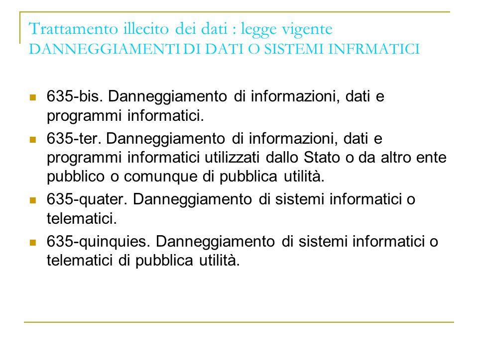 Trattamento illecito dei dati : legge vigente DANNEGGIAMENTI DI DATI O SISTEMI INFRMATICI 635-bis.