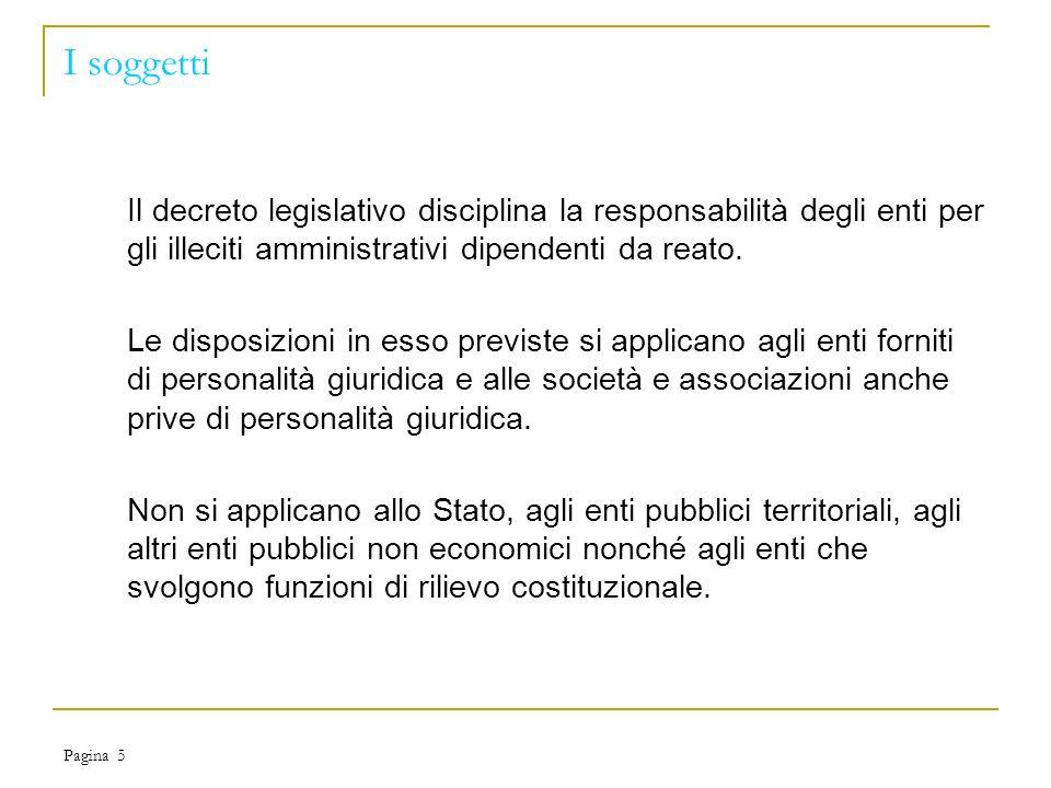 Pagina 5 I soggetti Il decreto legislativo disciplina la responsabilità degli enti per gli illeciti amministrativi dipendenti da reato.