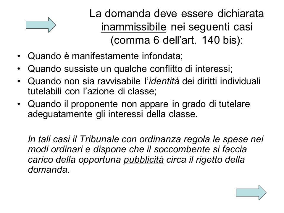 La domanda deve essere dichiarata inammissibile nei seguenti casi (comma 6 dellart.