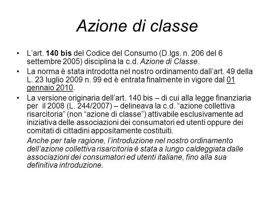 Azione di classe Lart. 140 bis del Codice del Consumo (D.lgs.