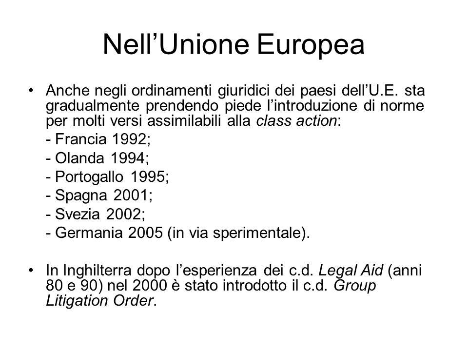 In Italia: Azione di classe o azione collettiva risarcitoria (art.