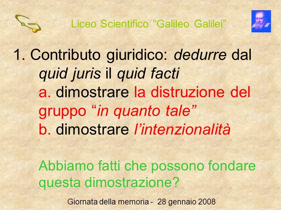 Liceo Scientifico Galileo Galilei Giornata della memoria - 28 gennaio 2008 1. Contributo giuridico: dedurre dal quid juris il quid facti a. dimostrare