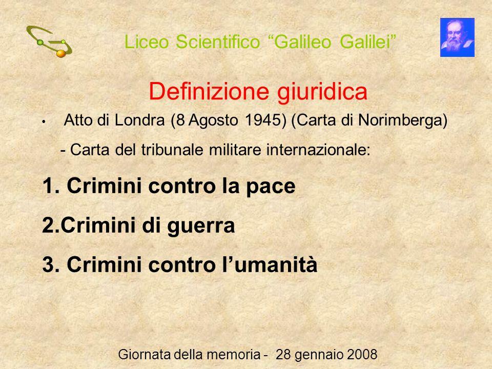 Liceo Scientifico Galileo Galilei Giornata della memoria - 28 gennaio 2008 Definizione giuridica Atto di Londra (8 Agosto 1945) (Carta di Norimberga)