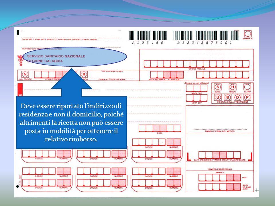 Deve essere riportato lindirizzo di residenza e non il domicilio, poiché altrimenti la ricetta non può essere posta in mobilità per ottenere il relativo rimborso.