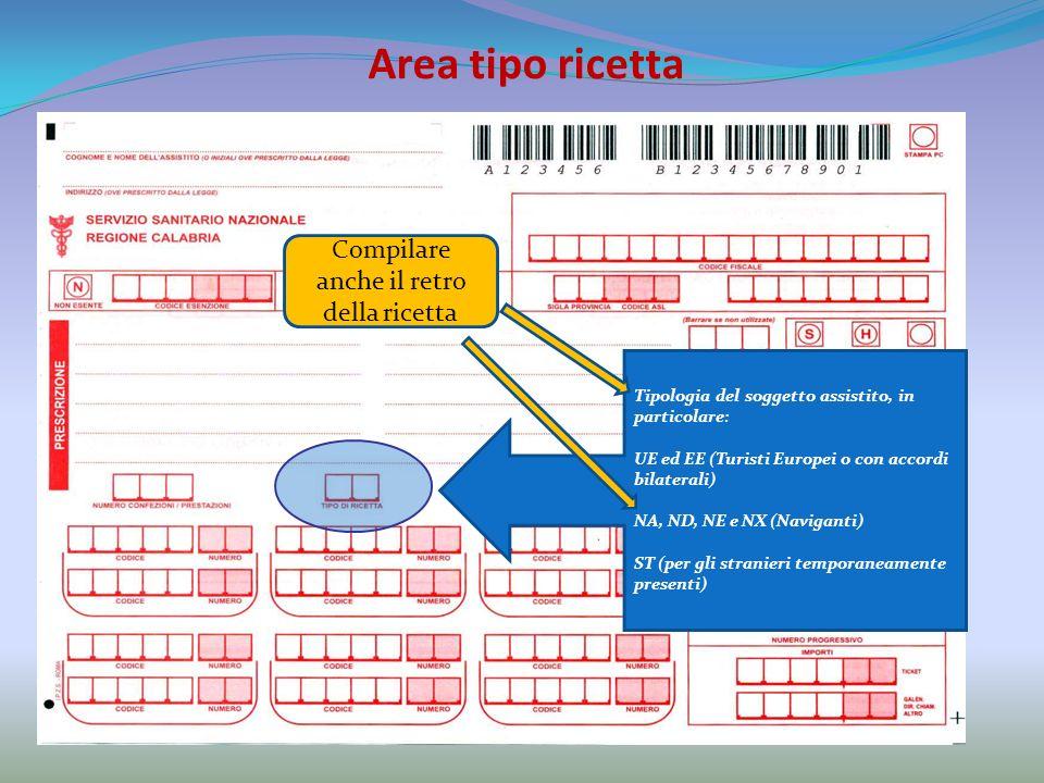 Area tipo ricetta Tipologia del soggetto assistito, in particolare: UE ed EE (Turisti Europei o con accordi bilaterali) NA, ND, NE e NX (Naviganti) ST (per gli stranieri temporaneamente presenti) Compilare anche il retro della ricetta