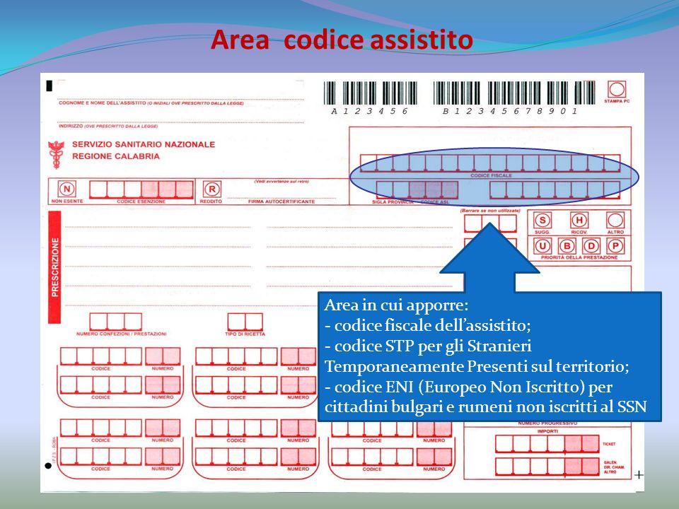 Area codice assistito Area in cui apporre: - codice fiscale dellassistito; - codice STP per gli Stranieri Temporaneamente Presenti sul territorio; - codice ENI (Europeo Non Iscritto) per cittadini bulgari e rumeni non iscritti al SSN