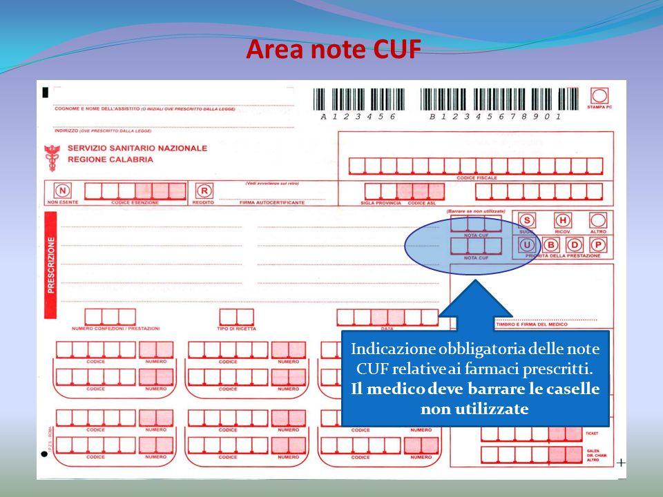 Area note CUF Indicazione obbligatoria delle note CUF relative ai farmaci prescritti.