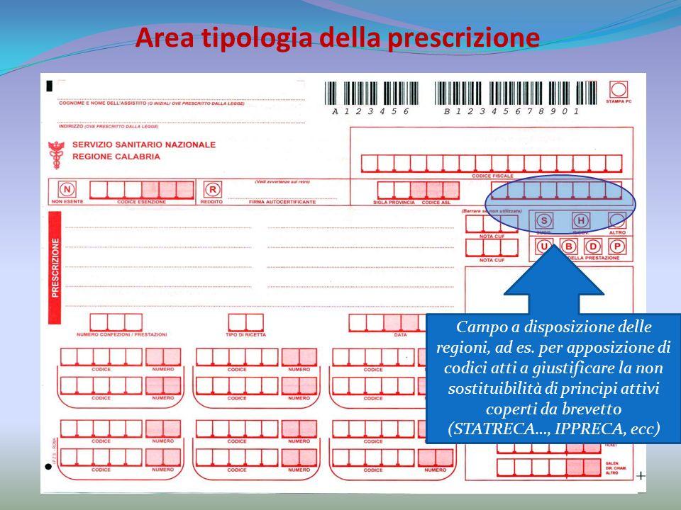 Area tipologia della prescrizione Campo a disposizione delle regioni, ad es.