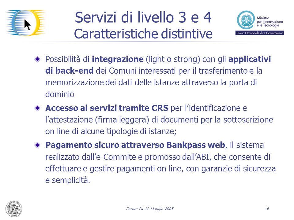 Forum PA 12 Maggio 200516 Servizi di livello 3 e 4 Caratteristiche distintive Possibilità di integrazione (light o strong) con gli applicativi di back
