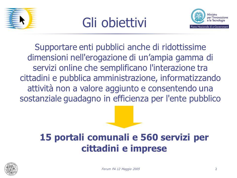 Forum PA 12 Maggio 20052 Supportare enti pubblici anche di ridottissime dimensioni nell'erogazione di unampia gamma di servizi online che semplificano