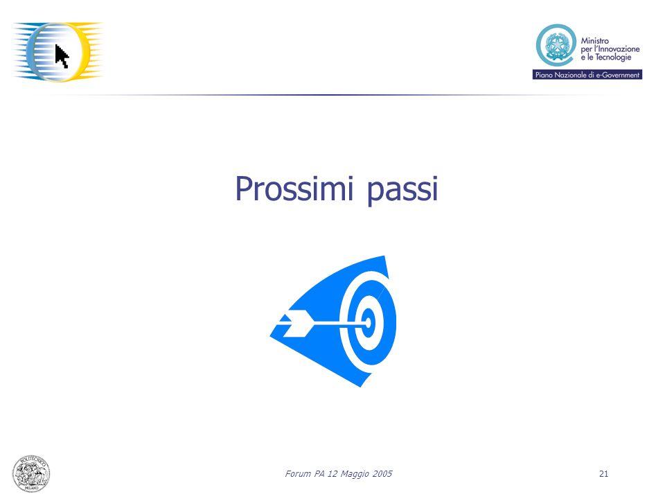 Forum PA 12 Maggio 200521 Prossimi passi