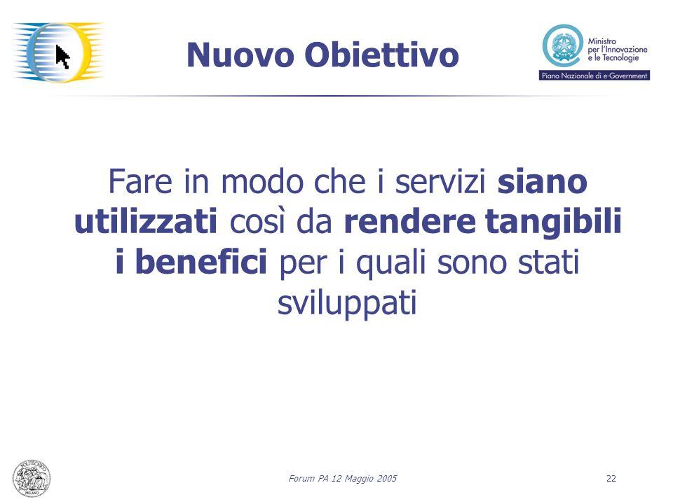 Forum PA 12 Maggio 200522 Nuovo Obiettivo Fare in modo che i servizi siano utilizzati così da rendere tangibili i benefici per i quali sono stati sviluppati